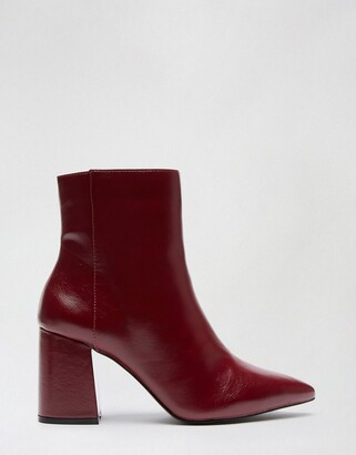 Miss Selfridge patent ankle boot in red