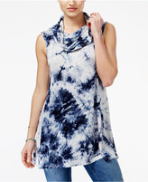 Say What ? Juniors' Tie-Dyed Cowl-Neck Tunic