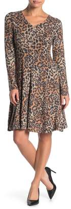 Spense Fit & Flare V-Neck Leopard Print Dress