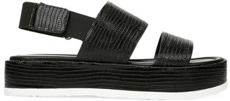 Via Spiga Gabourey Lizard-Embossed Leather Slingback Flatform Sandals