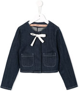No21 Kids - bow detail denim jacket - kids - Cotton/Polyester/Spandex/Elastane - 7 yrs