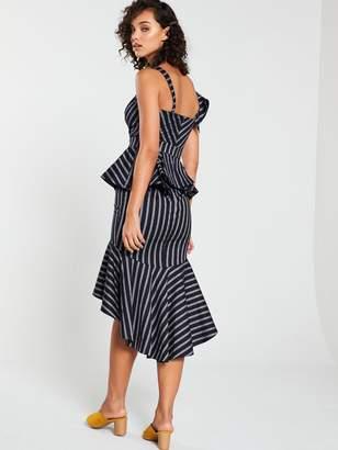 Very Stripe Peplum Dress - Monochrome