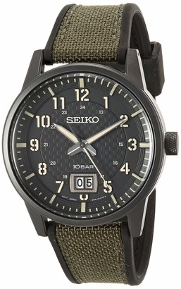 Seiko Men's Essentials Stainless Steel Japanese Quartz With Silicone Strap Green (Model: SUR325)