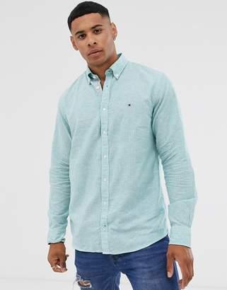 Tommy Hilfiger linen stripe long sleeve shirt-Blue