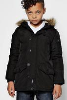 boohoo NEW Mens Boys Padded Faux Fur Hooded Coat in