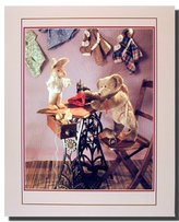Antique Teddy Bear with Sewing Machine Kids Room Wall Decor Art Print Poster (16x20)