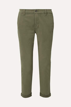 Current/Elliott The Confidant Cotton-blend Twill Straight-leg Pants - Green