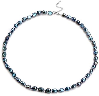 Shop Lc 925 Sterling Silver Fresh Water Peacock Pearl Necklace Size 18 Inch - Necklace 18''