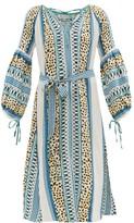 D'Ascoli Maddy Striped Silk Midi Dress - Womens - Blue Print