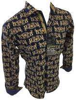 Flash Apparel Men's Premier By Barabas El Chapo Designer Woven Black Gold Button Up Slim Fit 18