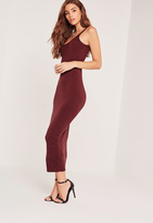 Missguided Strappy Long Midi Jersey Dress Burgundy
