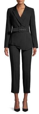 Tahari 2-Piece Belted Asymmetrical Jacket & Flat-Front Pant Suit