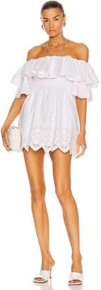 Self-Portrait Off Shoulder Cotton Broderie Tunic Dress in White   FWRD