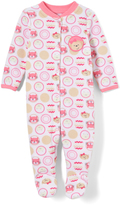 Buster Brown Bright White & Sachet Pink Kitty Peekaboo Footie - Infant