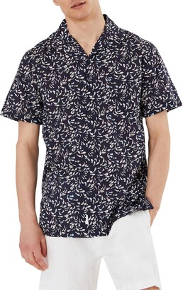 Onia Short Sleeve Button Up Fish Print Camp Shirt
