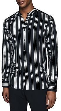 Reiss Yorker Striped Mandarin-Collar Shirt