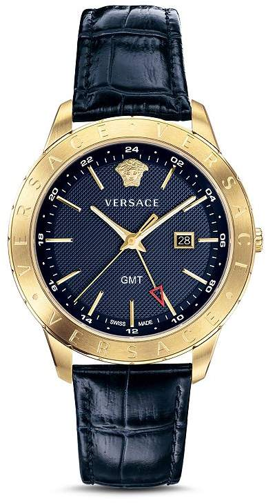Versace Business Slim Blue Croc-Embossed Leather Watch, 43mm