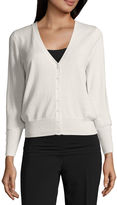 WORTHINGTON Worthington Long-Sleeve Button-Front Cardigan Petites