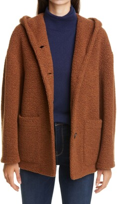 Harris Wharf London Oversize Hooded Teddy Boucle Coat