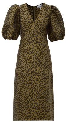 Ganni Puff-sleeve Leopard-jacquard Midi Dress - Leopard