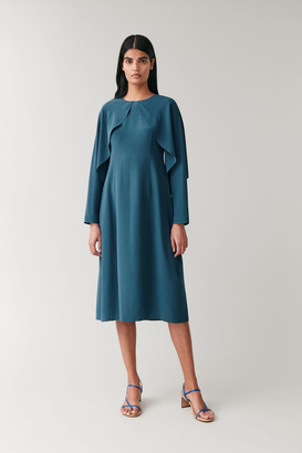 Cos Silk Dress With Open Sleeves