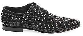 Dolce & Gabbana Men's Crystal-Embellished Leather Derby Shoes