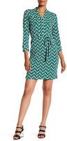 Donna Morgan Printed Split Neck Jersey Shirt Dress
