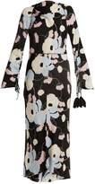 Marni Boat-neck floral-print crepe dress