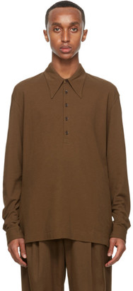 Lemaire Brown Crepe Jersey Long Sleeve Polo