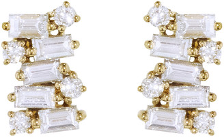 Suzanne Kalan 0.40 Carat Baguette and Round White Diamond Cluster Stud Earrings - Yellow Gold