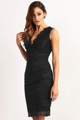 Lipsy Lace Bodycon Dress - 6 - Black
