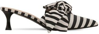 Tabitha Simmons For Brock Collection 50mm Cotton Canvas Striped Mules