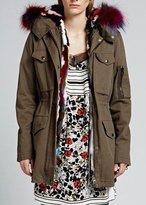Jocelyn Olive Cargo Coat Mink Liner Fox Trim Multi
