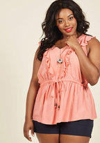 Ruffly and Ready to Go Sleeveless Top in Carnation in XXS