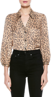 Alice + Olivia Sheila Blouson-Sleeve Button-Up Top