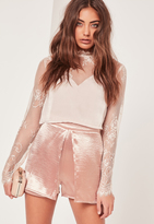 Missguided Hammered Satin Overlay Shorts Pink