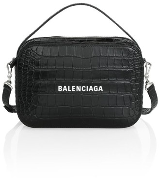 Balenciaga Everyday Crocodile-Embossed Leather Camera Bag