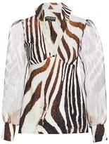 Chiara Boni Alithina Zebra-Stripe Organza-Sleeve Top