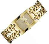 GUESS Women's Quartz Watch with Gold Dial Analogue Display and Gold Stainless Steel Bracelet W0313L2