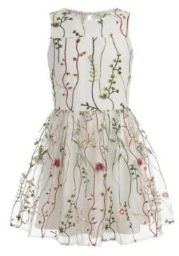 Calvin Klein Big Girls Plus Mesh Garden Sleeveless Dress