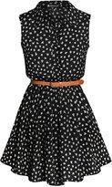 Allegra K Women Floral Prints Sleeveless Belted Shirt Dress S