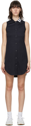 Thom Browne Navy Sleeveless 4-Bar Shirt Dress