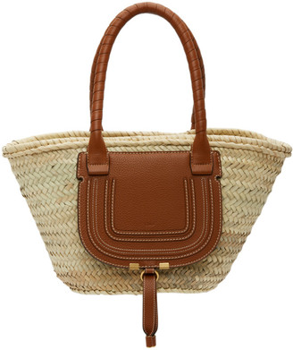Chloé Beige Medium Raffia Tote Bag