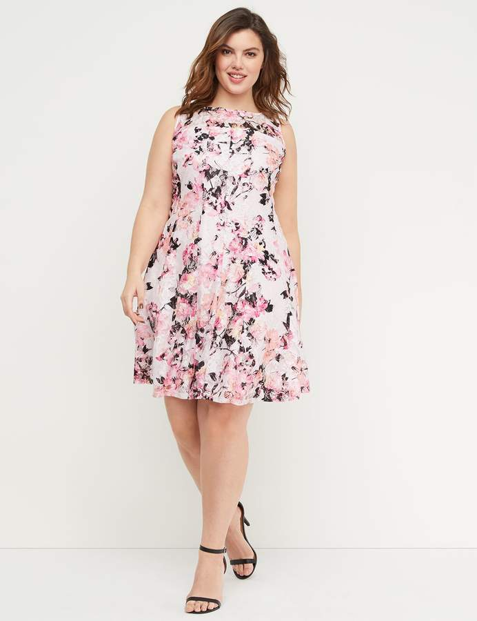 Lane Bryant Floral Lace Fit & Flare Dress