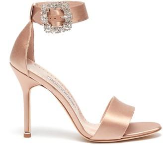 Manolo Blahnik 'Sanghal' Swarovski crystal buckle satin sandals