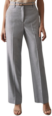 Reiss Essie Wool, Sil, & Linen-Blend Wide Leg Trouser