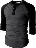 H2H Mens Casual Slim Fit Raglan Baseball 3/4 Sleeve Henley Premium T-Shirts CHARCOALBLACK US L/Asia XL (CMTTS0174)