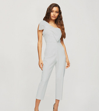 Miss Selfridge Petite jumpsuit with organza bow in ivory