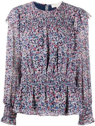 MICHAEL Michael Kors Floral Print Ruffle Shoulder Blouse