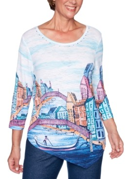 Alfred Dunner Road Trip Embellished Asymmetrical Scenic-Print Top